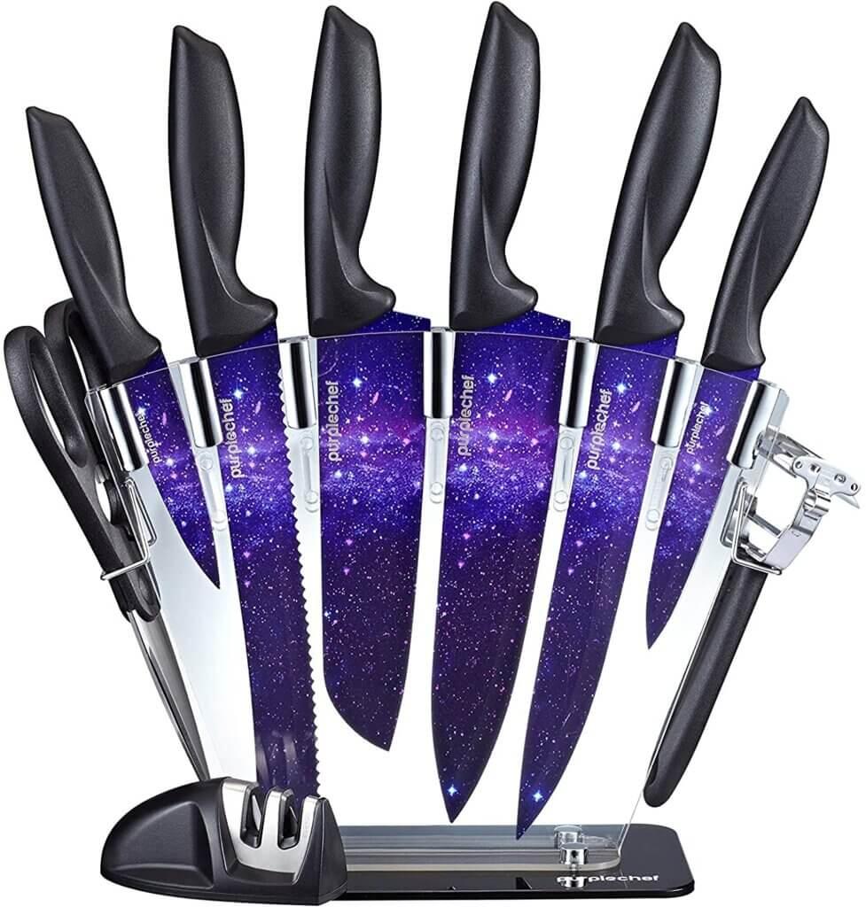 PurpleChef 10 Pieces Purple Galaxy Kitchen Knives Set